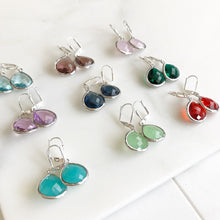 Load image into Gallery viewer, Simple Drop Earrings in Silver - Choose Color. Dangle Earrings Custom Earrings. Simple Earrings. Drop Earrings. Gift. Bridesmaids Jewelry.