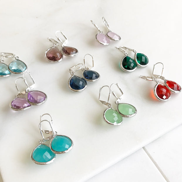 Simple Drop Earrings in Silver - Choose Color. Dangle Earrings Custom Earrings. Simple Earrings. Drop Earrings. Gift. Bridesmaids Jewelry.