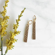 Hammered Bar Earrings in Gold. Dangle Earrings. Gold Bar Earrings