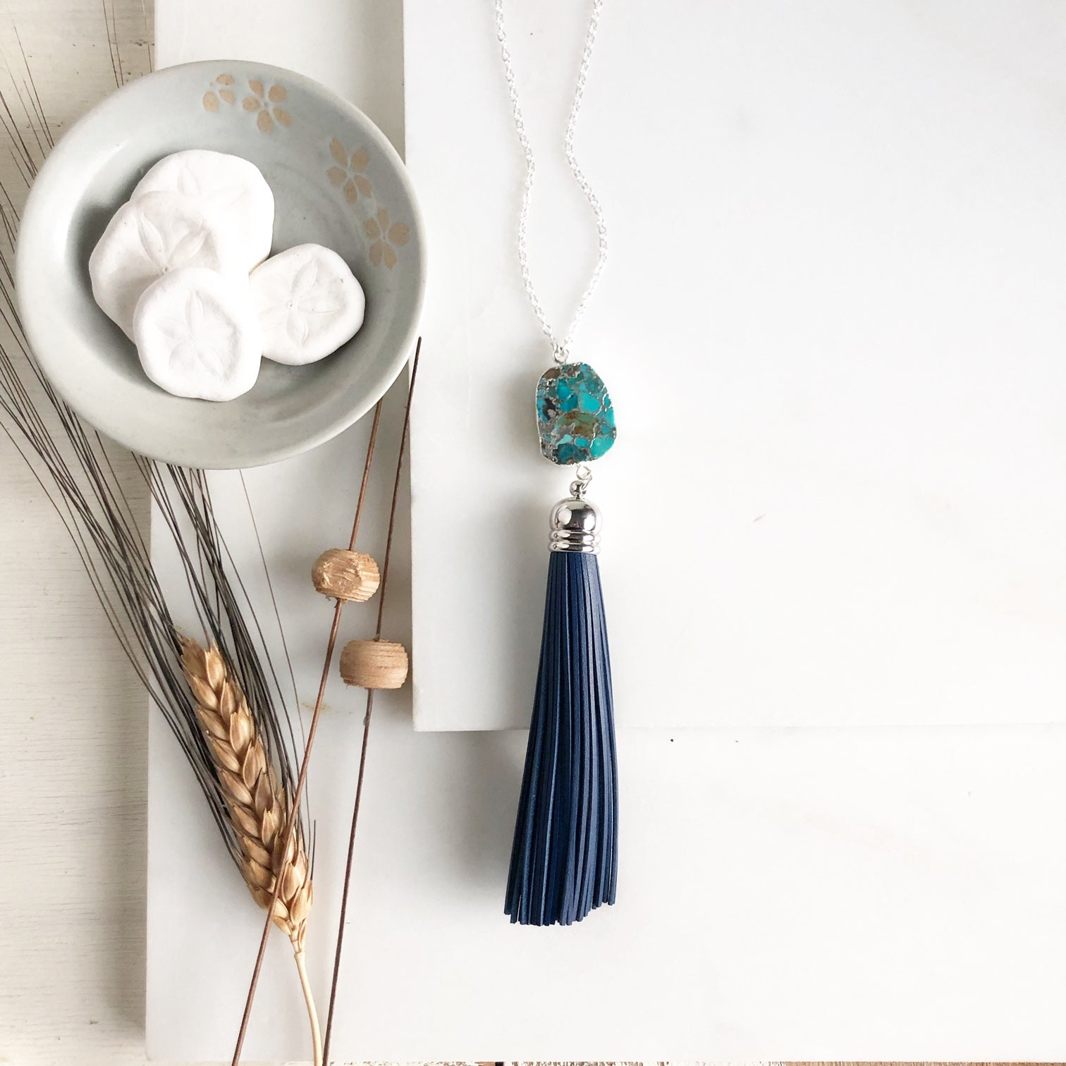Navy Tassel with Blue Green Marbled Stone in Silver