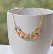 Load image into Gallery viewer, Modern Colorful Chain Statement Necklace in Gold. Statement Necklace. Modern Jewelry. Multi Color Jewelry.