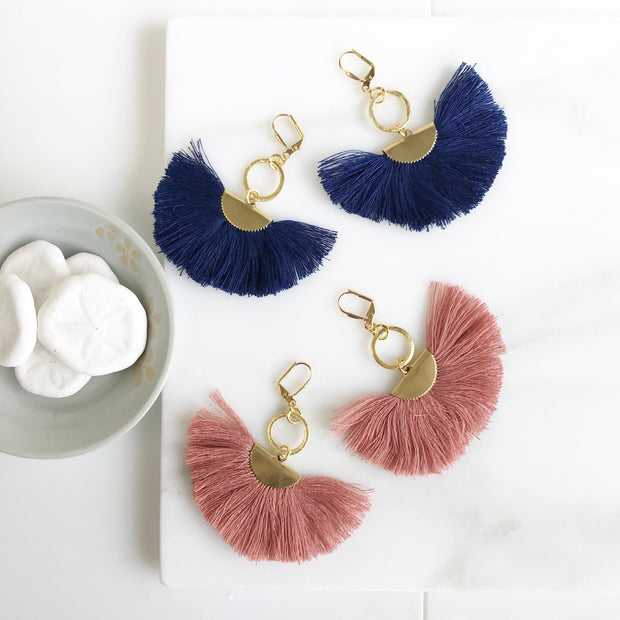 Tassel Earrings. Chandelier Tassel Earrings. Blue and Pink Tassel Dangle Earrings. Statement Earrings. Jewelry. Gold Fan Tassel Earrings.