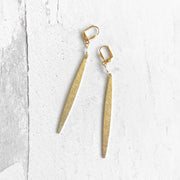 Long Stick Earrings in Brushed Gold with Clear Quartz Beads. Simple Long Brass Dangle Earrings