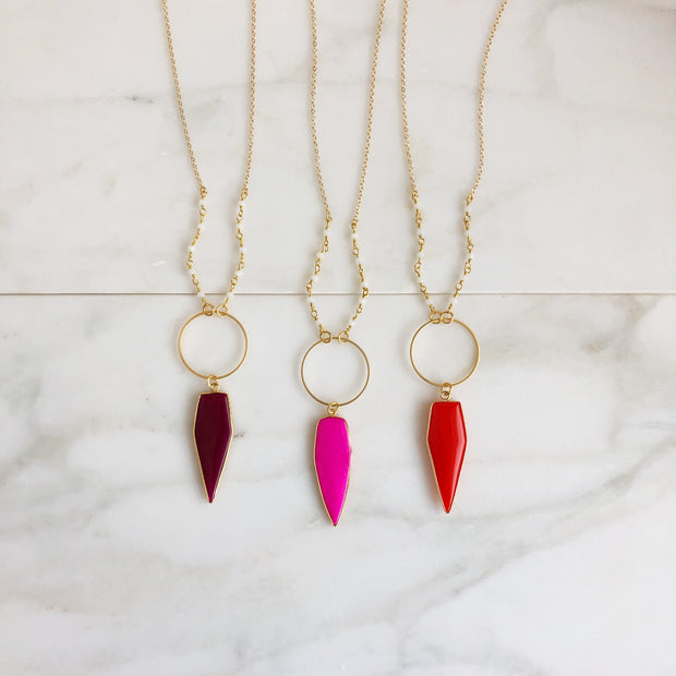 Long Colorful Stone Necklace in Gold. Long Shield Necklace. Warm Pink Red Statement Necklace.