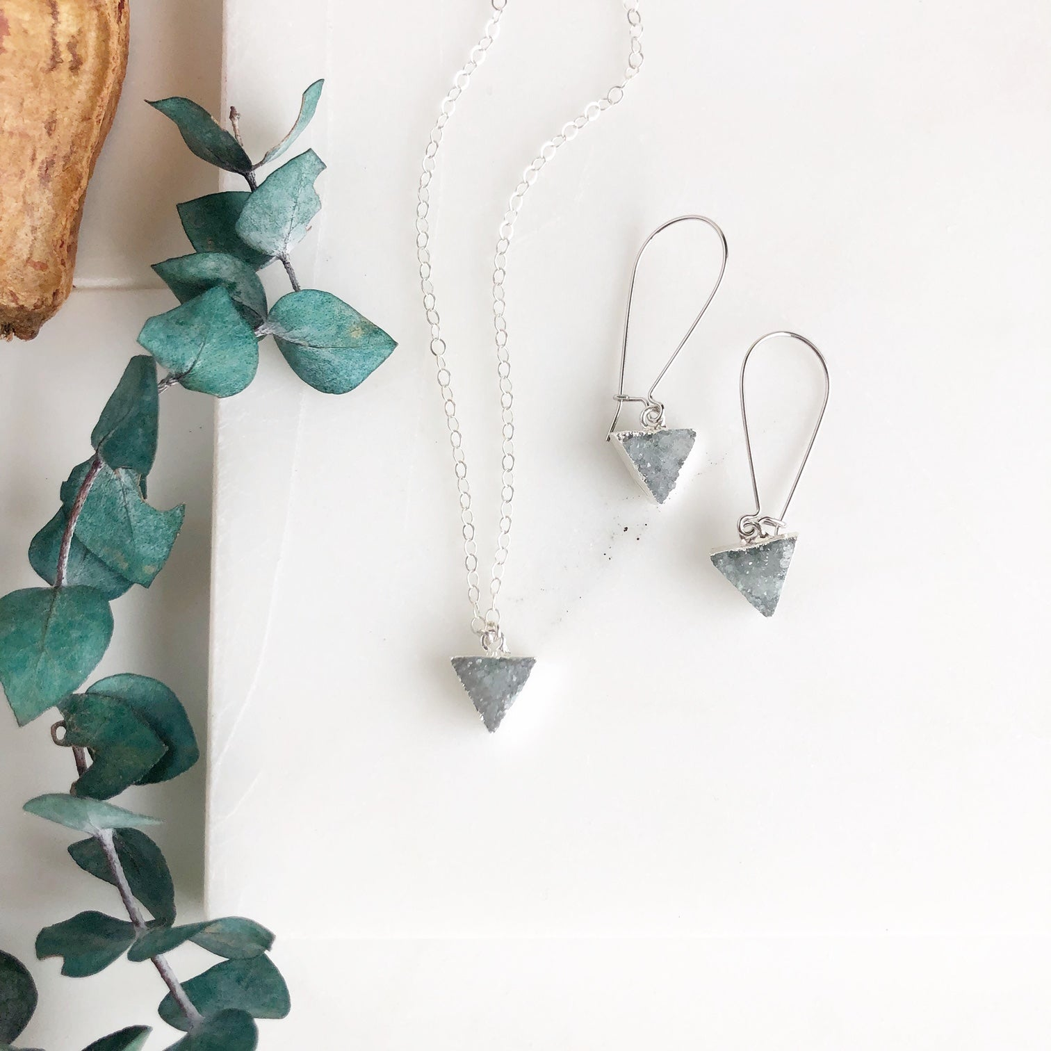 Grey Druzy Triangle Necklace and Earring Set. Sterling Silver Necklace.
