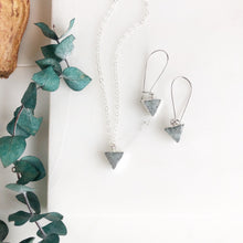 Load image into Gallery viewer, Grey Druzy Triangle Necklace and Earring Set. Sterling Silver Necklace.