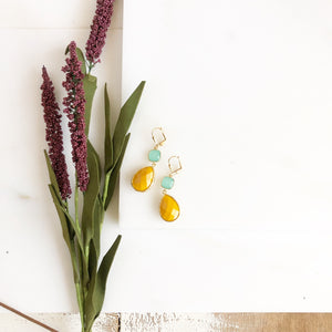 Mustard Yellow and Aqua Glass Drop Earrings in Gold. Bridal Earrings. Bridesmaids Gift.