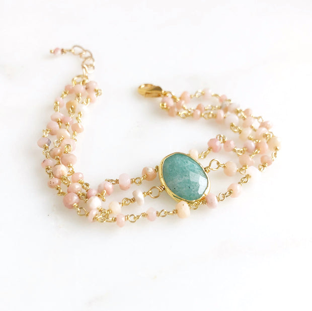 Triple Strand Amazonite And Pink Opal Gemstone Beaded Bracelet in Gold