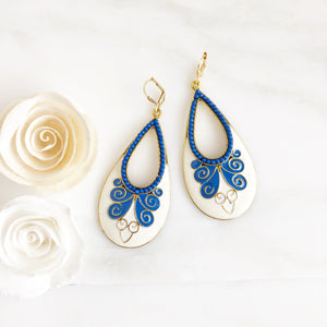Fun Bold Blue Teardrop Earrings. Blue and White Statement Earrings. Gold Statement Earrings.