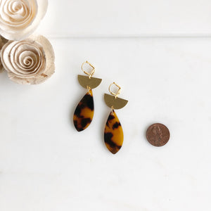 Tortoise Shell Dangle Earrings with Crescents. Acrylic Earrings. Tortoise Shell Earrings. Dangle.