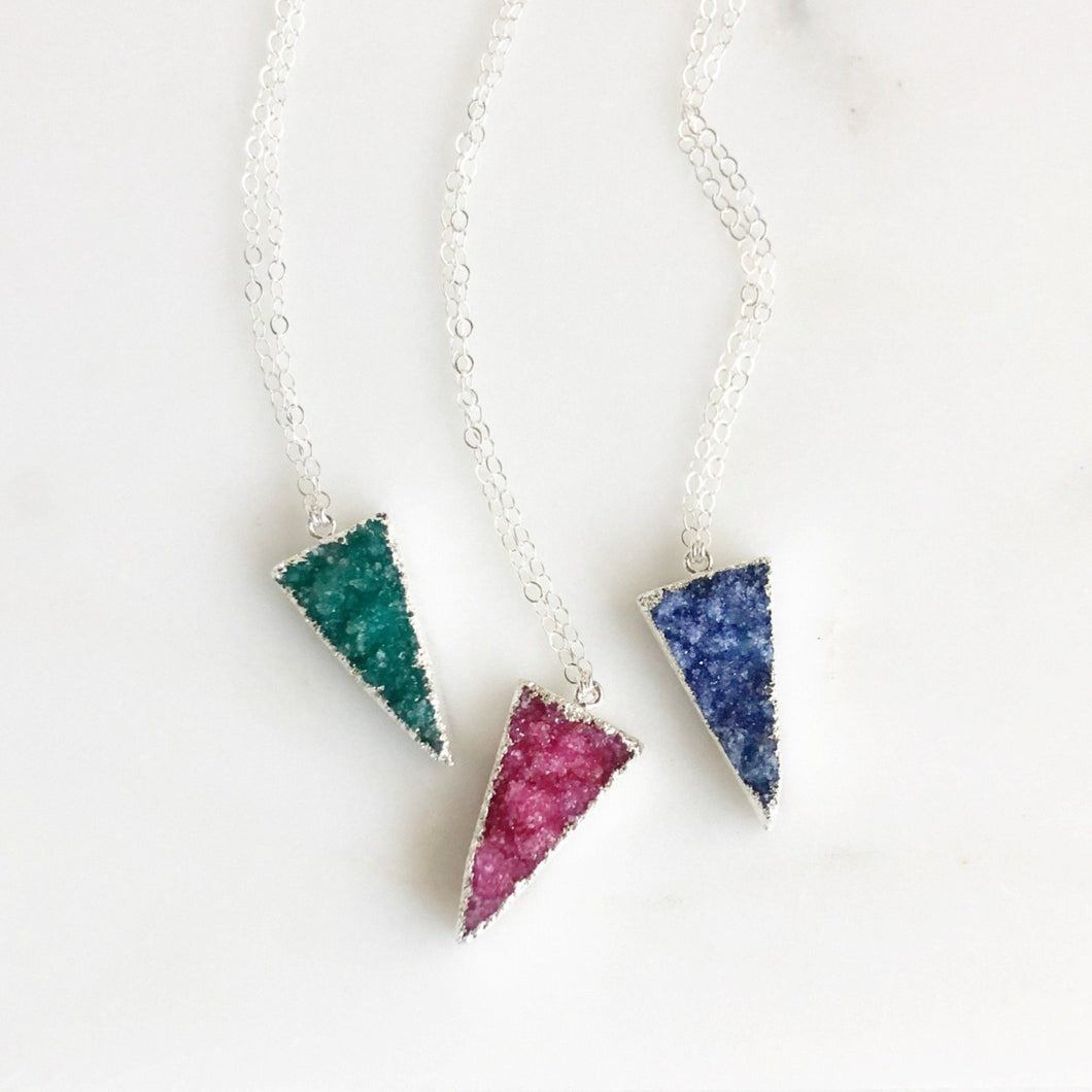 Druzy Triangle Necklace in Sterling Silver. Colorful Druzy Necklace. Jewelry. Gift.