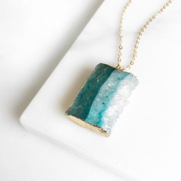 Teal Druzy Necklace. Geode Necklace. Raw Side Cut Druzy Jewelry. Teal Aqua Gold Slice Stone Necklace. Raw Crystal Necklace Gift