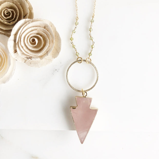 Long Rose Quartz Arrowhead Necklace in Gold with Green Beading