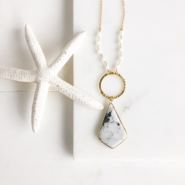 Black and White Stone Necklace. Kite Necklace. White Stone Necklace. Beaded Necklace. Long Necklace.