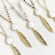 Long Necklace. Gold Leaf Necklace with White Agate Stone. Layering Necklace. Gold Feather Necklace. Bohemian Jewelry. Boho Jewelry.