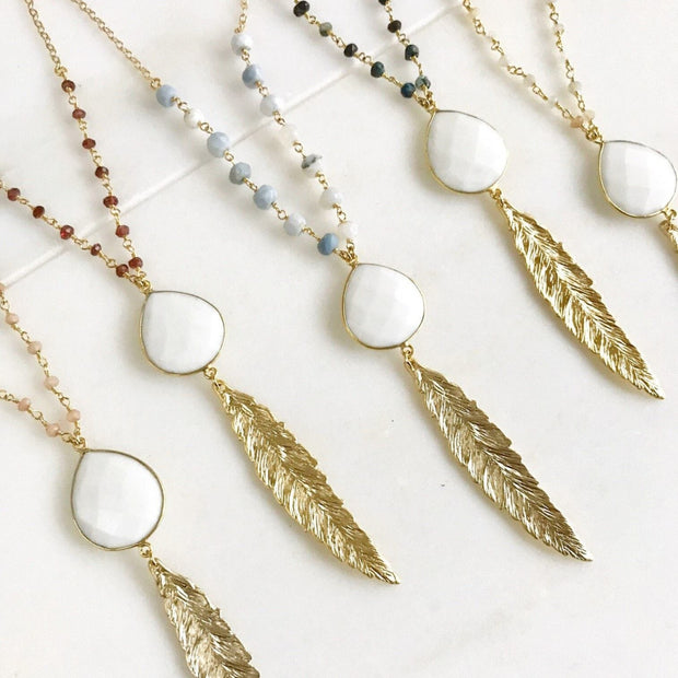 Long Gold Leaf Necklace with White Agate Stone