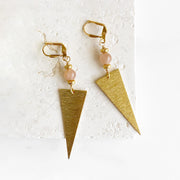 Triangle Dangle Earrings with Moonstone Beads in Gold