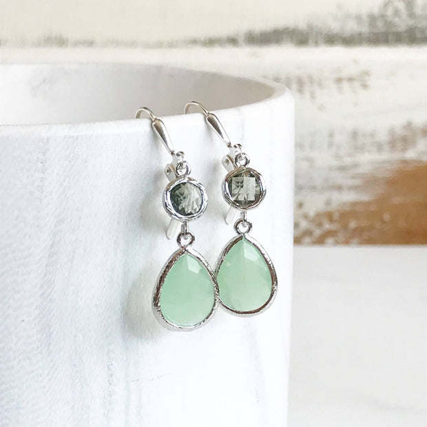 Bridesmaids Earrings in Mint and Charcoal. Silver Dangle Drop Earrings. Bridesmaid Earrings. Wedding Earrings. Jewelry Gift