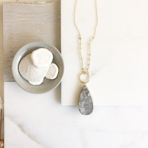 Long Necklace. Grey Druzy. Grey Druzy Stone Necklace with Moonstone.. Boho Necklace. Unique Jewelry Gift for Her. Gift. Druzy Quartz.