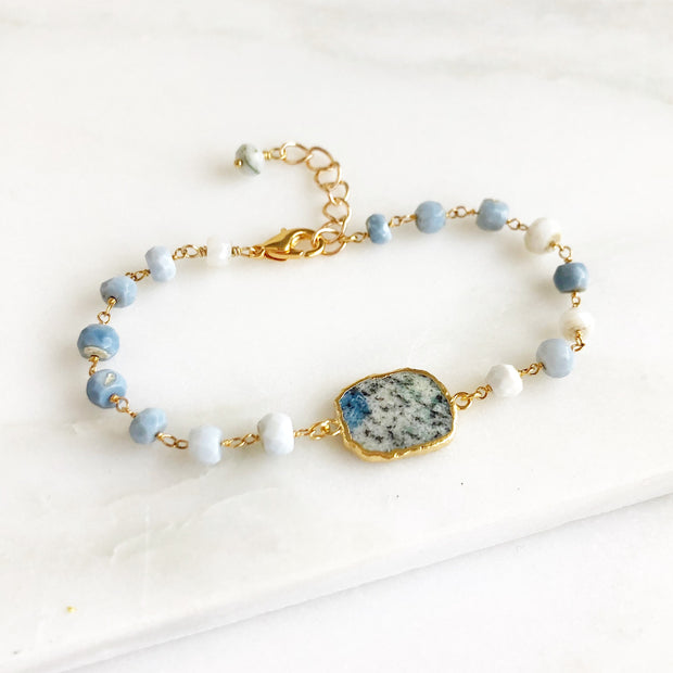 Blue Azurite Jasper Beaded Bracelet in Gold