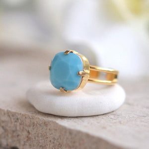 Turquoise Statement Ring in Gold. Cocktail Ring with Turquoise Square Swarovski Crystal. Adjustable Statement Ring.
