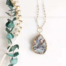 Load image into Gallery viewer, Long Large Grey Druzy Teardrop Necklace with Champagne Grey Beading Accents in Gold.