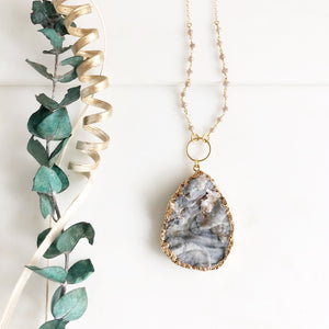 Long Large Grey Druzy Teardrop Necklace with Champagne Grey Beading Accents in Gold.