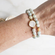 Stacking Bracelets with White Druzy Stone and Amazonite Beads. Stretchy Beaded Bracelets