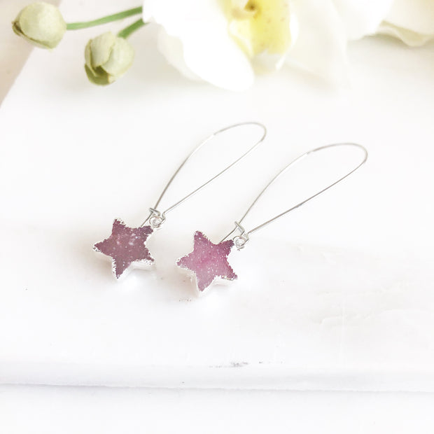 Druzy Star Earrings. Pink Druzy Star Earrings. Druzy Jewelry.. Silver Druzy Earrings