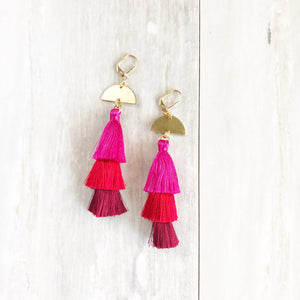 Long Pink and Red Tassel Earrings. Statement Tassel Earrings. Long Chandelier Earrings. Tassel Dangle Earrings. Statement Earrings. Jewelry