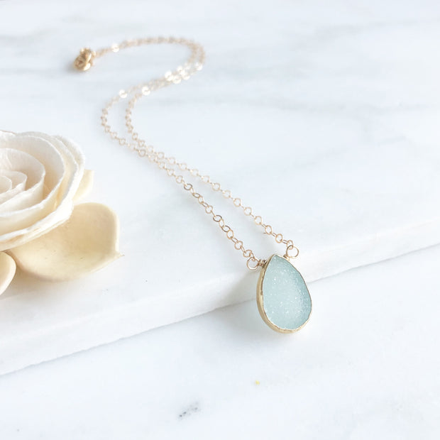Aqua Druzy Teardrop Necklace. Dainty Druzy Gold Layering Necklace