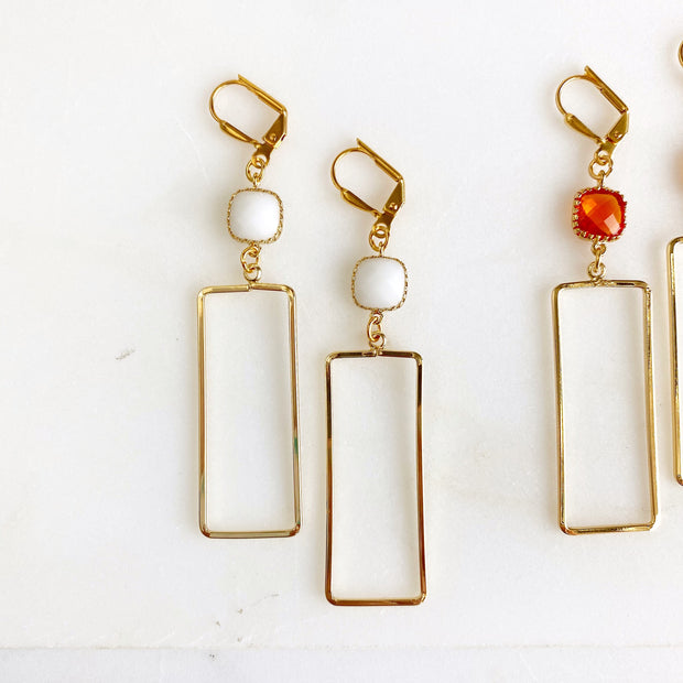 Open Rectangle Statement Earrings with Colorful Stones in Gold