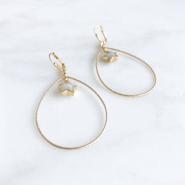 Gold Teadrops with Moonstone Stars. Gold Star Statement Earrings
