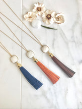 Load image into Gallery viewer, Tassel Necklace. Leather Tassel Necklace. White Stone and Blue Brown or Orange Tassel Necklace. Long Tassel Necklace. Boho Tassel Jewelry.