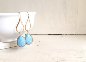 Turquoise Blue Teardrop Dangle Earrings. Turquoise Drop Earrings. Large Gold Dangle Earrings. Wedding Jewelry. Gift for Her. Jewerly.