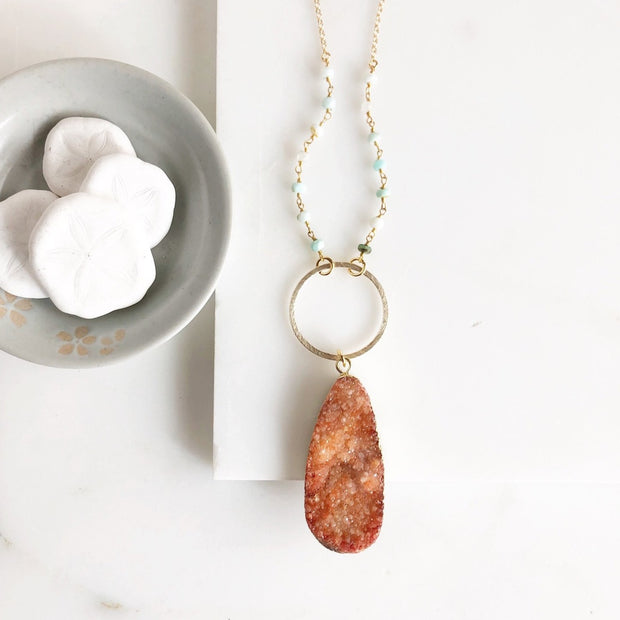 Long Orange Druzy Teardrop and Circle Necklace with Amazonite Beaded Chain in Gold
