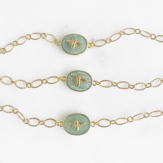 Cute Amazonite Bumblebee Chain Bracelet in Gold. Dainty Gold Bee Jewelry