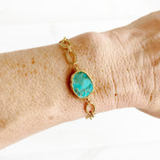 Ocean Jasper Opal Bracelet in Gold. Simple Gold Chain Bracelet
