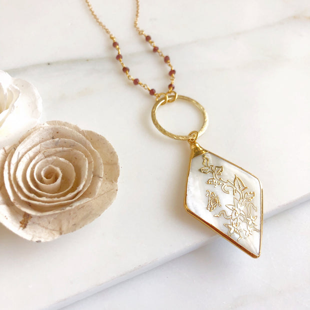 Mother of Pearl Pendant in Gold. Long Necklace. Long OOAK Statement Necklace. Long Boho Necklace