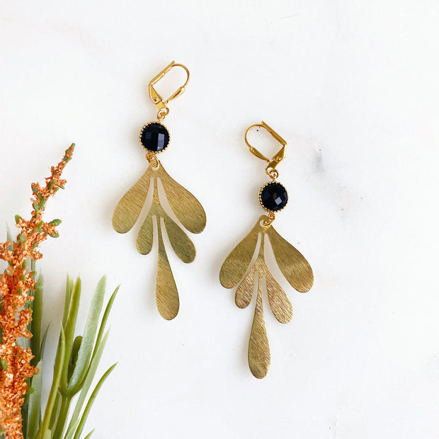 Black and Gold Statement Earrings. Black Gold Dangle Earrings