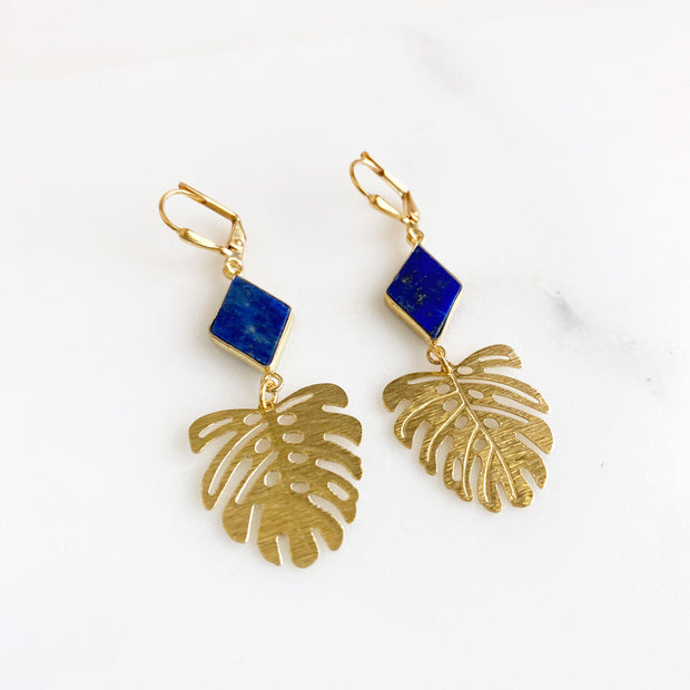 Lapis and Leaf Dangle Earrings in Gold. Blue Stone Monstera Leaf Earrings