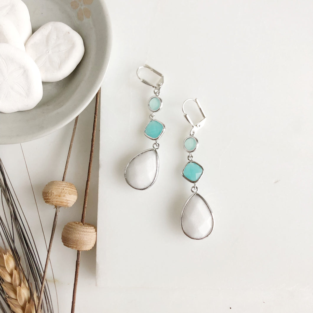 Long White Stone Bridal Earrings with Aqua Accents in Silver.