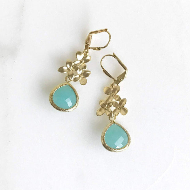 SALE - Turquoise Teardrop and Gold Cherry Blossom Dangle Earrings. Dangle Earrings. Drop Earrings. Gift.