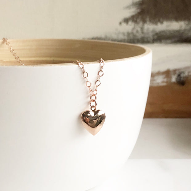Heart Locket. Rose Gold Heart Necklace. Heart Necklace. Valentines Day Gift. Valentines Day Jewelry