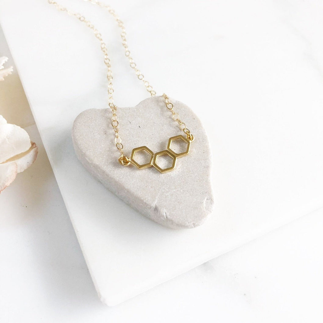 Petite Gold Honeycomb Necklace. Simple Gold Necklace. Dainty Gold Necklace. Pendant Necklace. Gold Layering Necklace. Gift for Her.