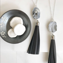 Load image into Gallery viewer, Leather Tassel Necklace. Black Sterling Silver Tassel Necklace. Grey Druzy Long Tassel Necklace. Boho Tassel Jewelry.