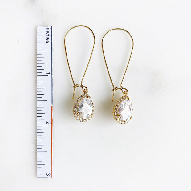 Simple Gold Bridal Drop Earrings. Cubic Zirconia Drops. Elegant Dangle Earrings