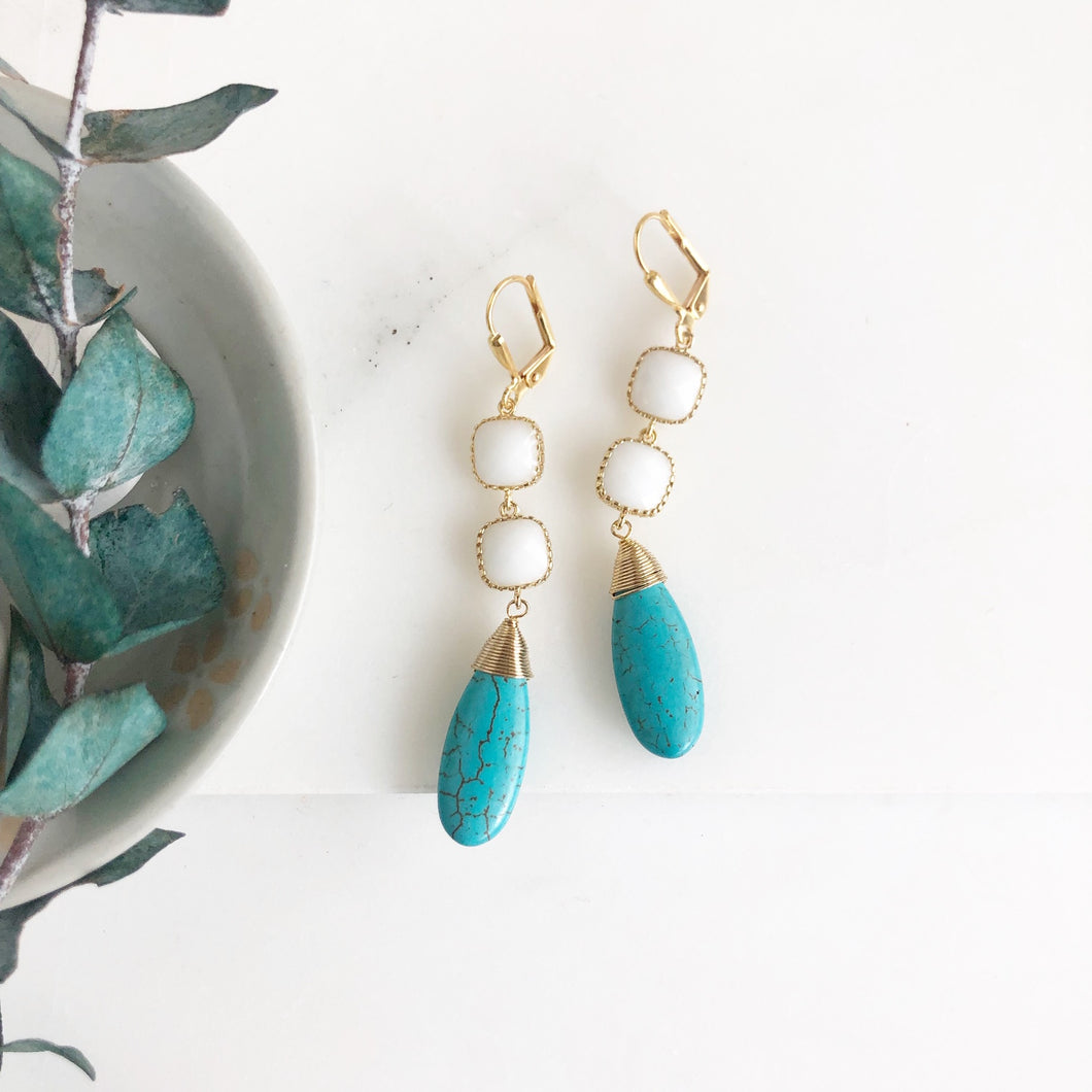 Long Turquoise and White Stone Earrings in Gold.