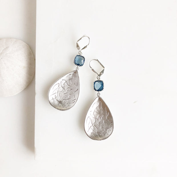 Silver Teardrop Chandelier Earrings with Sapphire Blue Stones