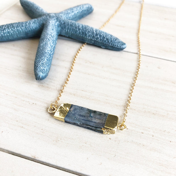 Kyanite Necklace. Bar Necklace. Stone Necklace. Blue Bar Necklace. Gold Bar Necklace.